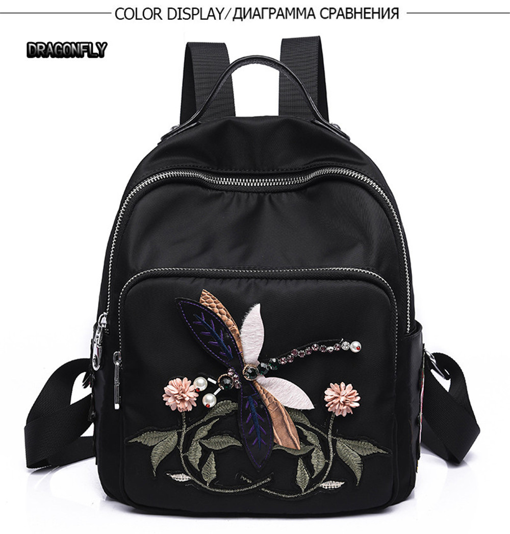 6bd61ff189 Embroidery Peony Flower Women Backpack School Bags For Girls Brand Animal  Shoulder Bag