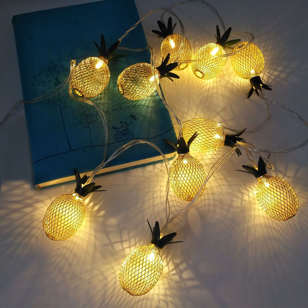 Chaîne de fer d'ananas d'or s'allume la fée LED Home Decor Light Home jardin de batterie alimenté 1.6M 10 LED