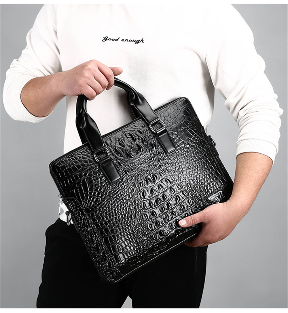 Crocodile Pattern Porte-documents sac à bandoulière Business Male sac à bandoulière section transversale