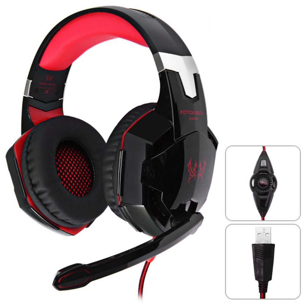 KOTION EACH G2200 Gaming Headphone USB 7.1 Surround Sound Version Vibration Headset with Microphone LED Light Blue /& Black