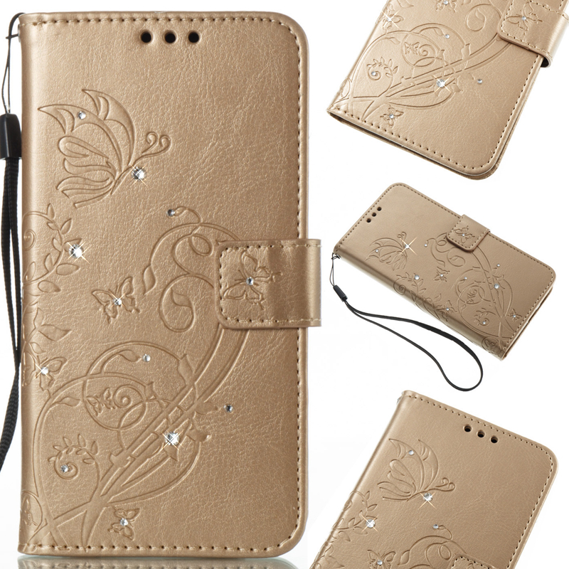 Etui en Cuir à Face Unique de Motif Papillon avec Décoration Diamants pour iPhone 7 Plus / 8 plus