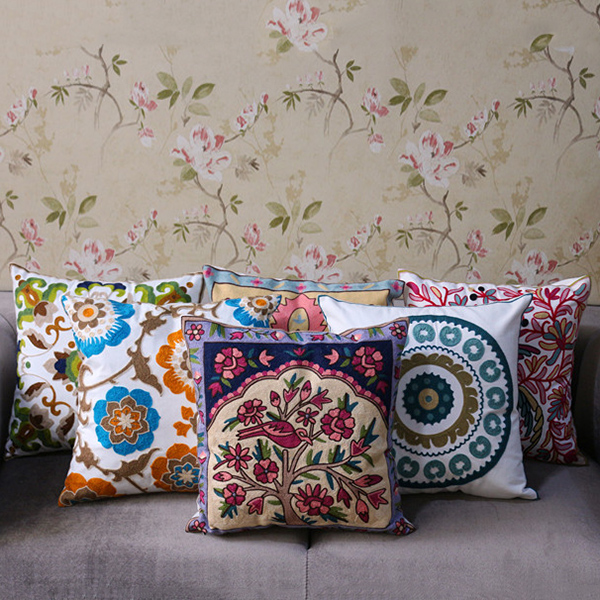 Chinese Wintersweet Embroidered Cotton Fabric Square Pillowcase